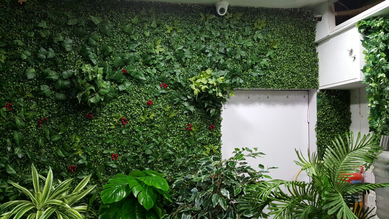 artificial plants vertical green wallankur nursery, mumbai, india.