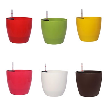 Plastic Self Watering Round Pots - Coloured